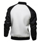 cheap Snap Button Up PU Leather Insert Raglan Sleeve Jacket