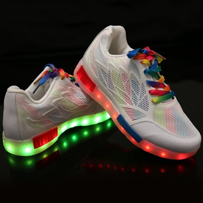 Led Luminous Colored Shoelace Hollow Out Sneakers