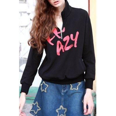 Cotton Graphic Zipper Sweatshirt