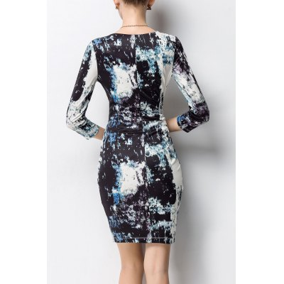 Bodycon Ruched Print Dress