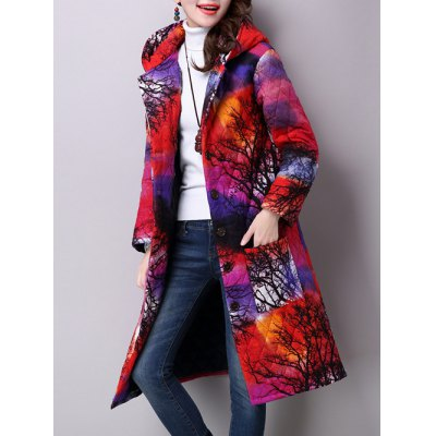Textured Quilted Hooded Coat