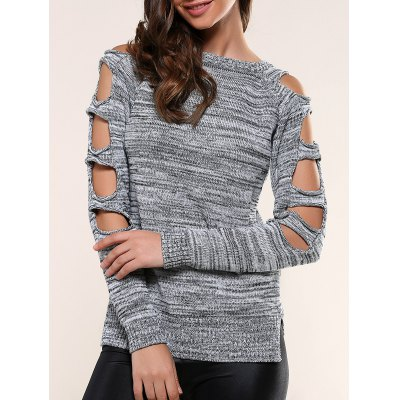 Cut Out Sleeve Heathered Sweater