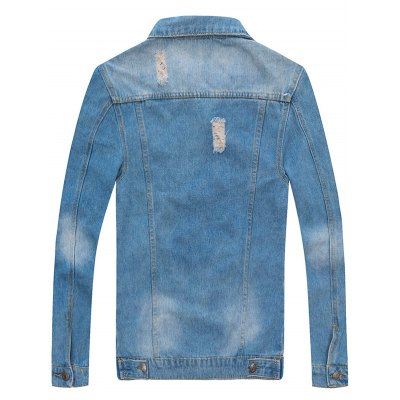 Patched Scratched Button Up Ripped Denim Jacket
