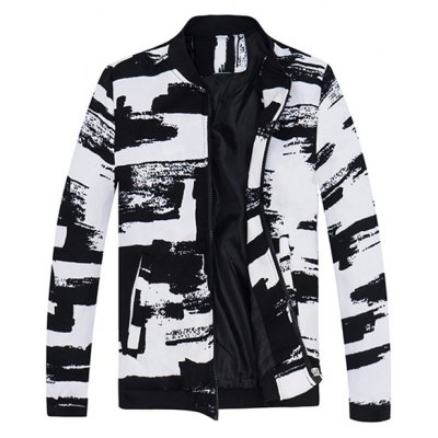 Print Rib Insert Zip Up Jacket