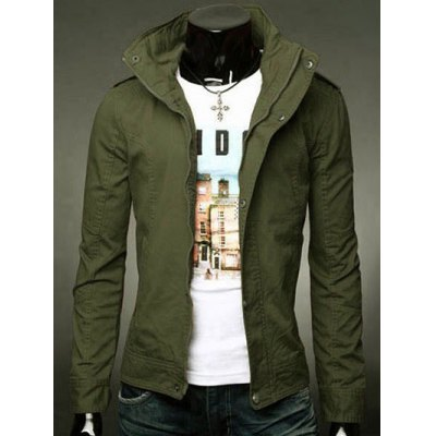 Stand Collar Epaulet Design Zip-Up Jacket