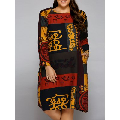 Plus Size Oil Painting Long Sleeve Dress