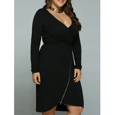 Plus Size Inclined Zipper Surplice DressPlus Size Dresses<br>Plus Size Inclined Zipper Surplice Dress<br><br>Style: Brief<br>Material: Cotton Blend,Spandex<br>Silhouette: Asymmetrical<br>Dresses Length: Knee-Length<br>Neckline: Plunging Neck<br>Sleeve Length: Long Sleeves<br>Pattern Type: Solid<br>With Belt: No<br>Season: Fall,Spring,Summer<br>Weight: 0.380kg<br>Package Contents: 1 x Dress