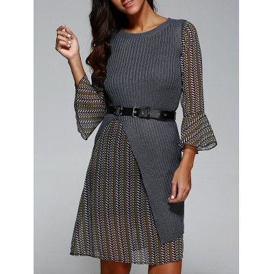 Belted Print Dress with Knit Vest