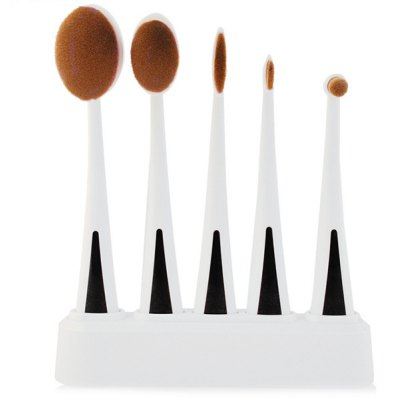 5 Pcs Facial Oval Toothbrush Makeup Brushes Set with Holder