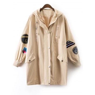Hooded Patched Embroidered Trench Coat