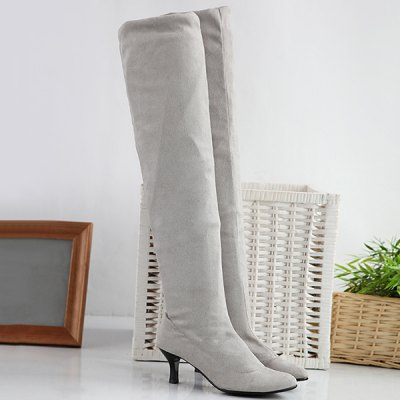 Kitten Heel Round Toe Thigh Boots