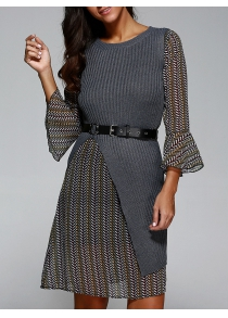 Belted Print Dress with Knitted Vest