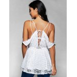 Spaghetti Straps Cold Shoulder Lace Top photo