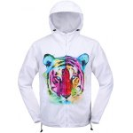Elastic Cuff Tiger 3D Print Hooded Zip Up Jacket