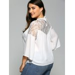 Lace Spliced Plus Size Chiffon Sheer Blouse for sale