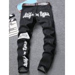 cheap Stub Zipper Embellished Graphic Print Jeans