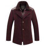 Buy Faux Fur Turn-Down Collar PU-Leather Spliced Single-Breasted Woolen Coat L WINE RED