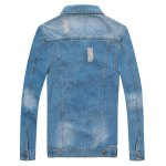 cheap Patched Scratched Button Up Ripped Denim Jacket