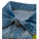 Patched Scratched Button Up Ripped Denim Jacket deal