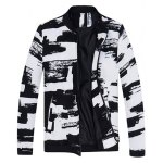 Abstract Print Rib Insert Zip Up Jacket
