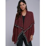 cheap Plaid Tassel Cardigan