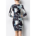 cheap Bodycon Ruched Print Dress