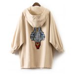 cheap Hooded Patched Embroidered Trench Coat