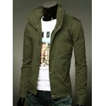 cheap Stand Collar Epaulet Design Zip-Up Jacket