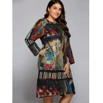 cheap Plus Size Oil Painting Long Sleeve Dress