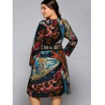 Plus Size Oil Painting Long Sleeve Dress deal