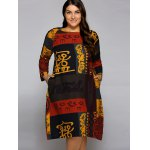 cheap Plus Size African Long Sleeve Shift Dress
