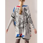 cheap Color Block Print Bat Sleeve Knit Dress