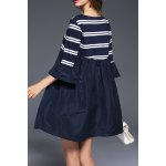 cheap Stripe Mini Smock Dress