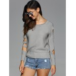 Cut Out Sleeve Knitted Sweater deal