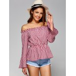 cheap Off The Shoulder Flare Sleeve Plaid Blouse