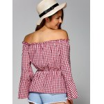 Off The Shoulder Flare Sleeve Plaid Blouse for sale