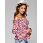 Off The Shoulder Flare Sleeve Plaid Blouse deal