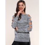 cheap Cut Out Sleeve Heathered Sweater