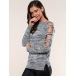 Cut Out Sleeve Heathered Sweater deal