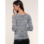Cut Out Sleeve Heathered Sweater for sale