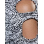 best Cut Out Sleeve Heathered Sweater
