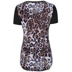 cheap Single Pocket Leopard Asymmetrical T-Shirt