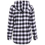 cheap Long Sleeve Hooded Plaid Shirt