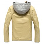 cheap Color Block Splicing Hooded Zip-Up Jacket
