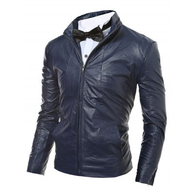 Stand Collar Zip Up Faux Leather JacketMens Jackets &amp; Coats<br>Stand Collar Zip Up Faux Leather Jacket<br><br>Clothes Type: Jackets<br>Style: Casual<br>Material: Faux Leather,Polyester<br>Collar: Stand Collar<br>Clothing Length: Regular<br>Sleeve Length: Long Sleeves<br>Season: Fall,Winter<br>Weight: 0.700kg<br>Package Contents: 1 x Jacket