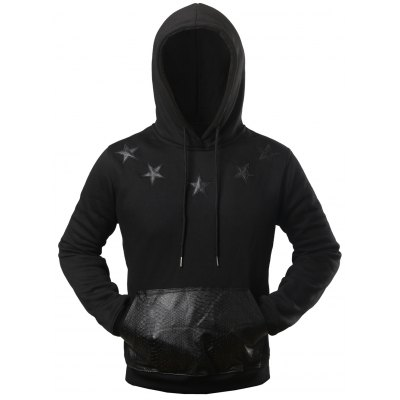 Texture Pocket Star Patched Drawstring Hoodie