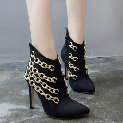 Pointed Toe Chains Stiletto Heel Boots