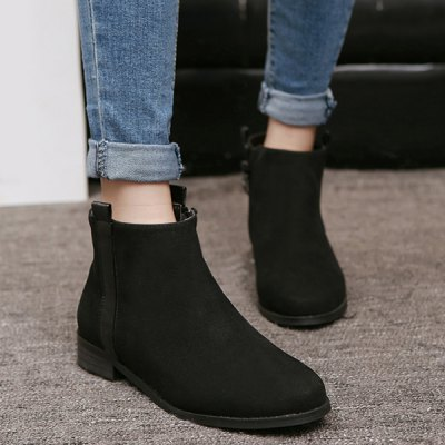 Suede Flat Heel Ankle Boots