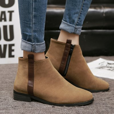 Side Zip Suede Flat Ankle Boots