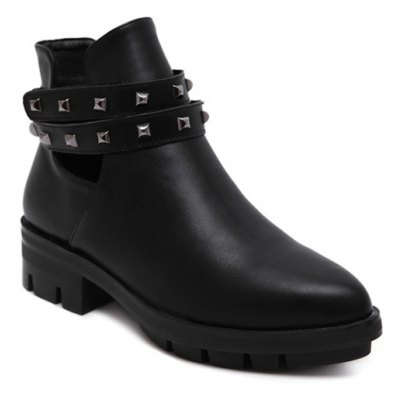Pointed Toe Rivets Cut Out Ankle Boots